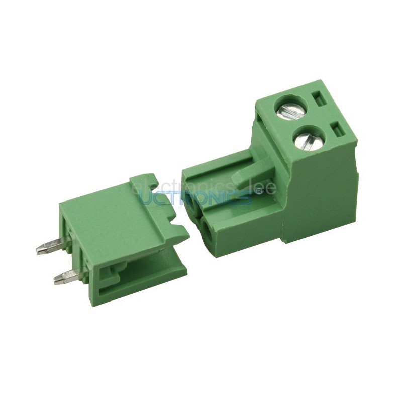 Green L Type 2pin/way 5.08mm Screw Terminal Block Connector 1per