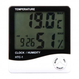 HTC-1 Hygrometer Digital Temperature & Humidity Meter + Clock
