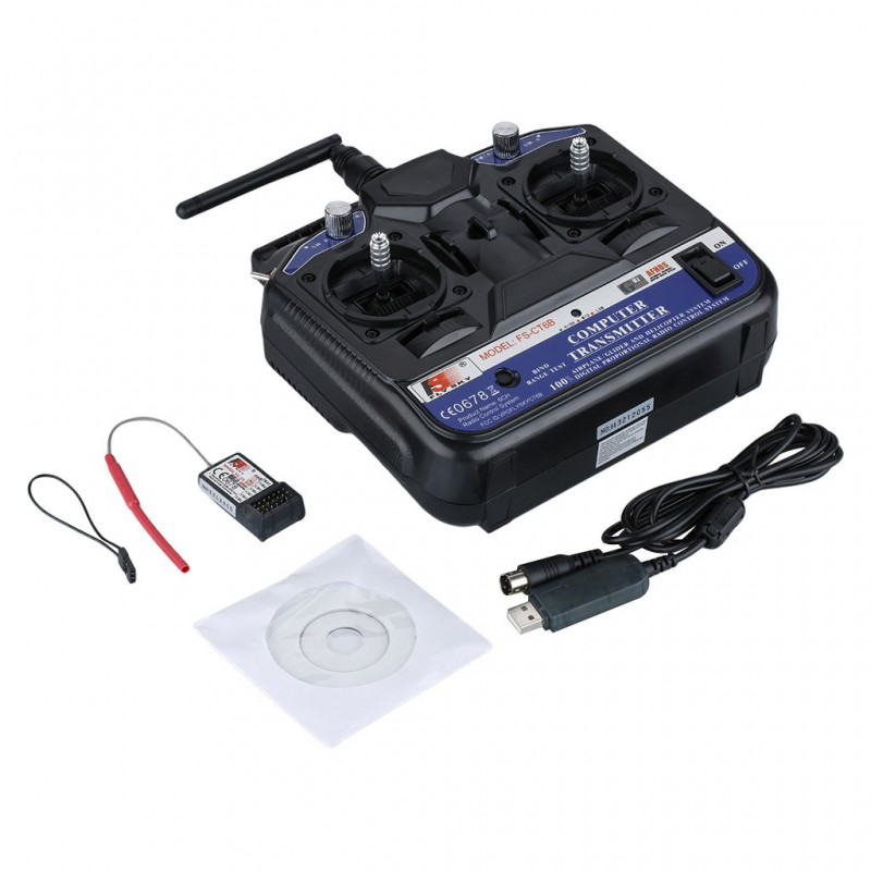 FlySky FS-CT6B 2.4GHz 6CH Transmitter With Receiver FS-R6B Mode 2