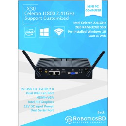 J1800 Windows 10 Pro Mini PC 2GB RAM + 32GB SSD